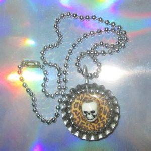1990s vintage grunge skull choker leopard necklace